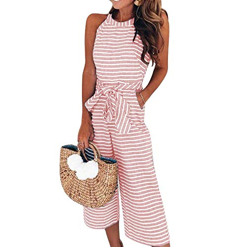 Puedo Women\'s Striped Sleeveless Waist Belted Zipper Back Wide Leg Loose Jumpsuit Romper with Pockets (Red,XL)