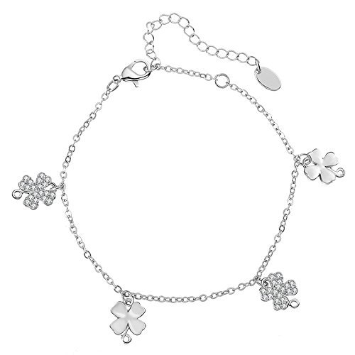 - YOYOMA Anklets for Women,Lucky Charm Pendant Ankle Bracelet Girls Kids Gold and Silver Bracelet with CZ Crystal (Four Leaf Clover Pendant, Silver Plated Copper)