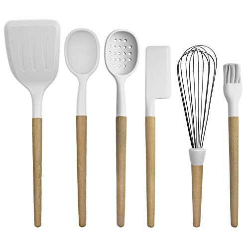 Country Kitchen 6 pc Non Stick Silicone Utensil Baking Set with Rounded Wooden Handles for Cooking and Baking - White