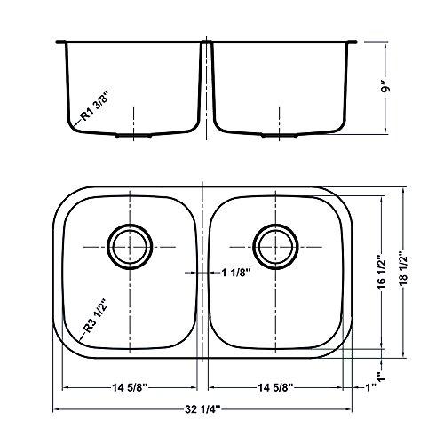 Ruvati 32-inch Undermount 50/50 Double Bowl 16 Gauge Stainless Steel Kitchen Sink - RVM4300 by Ruvati (Image #7)