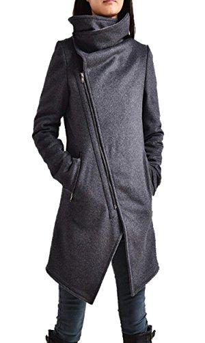 Zeagoo Women Winter Fashion Asymmetrical Long Wool Trench Coat Zip Up Jacket 41Y2U53wlvL