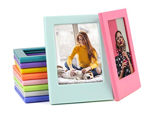 YUESUO Refrigerator Magnets for Polaroid Photos Multi-Shape Magnetic Picture Frame 3.3 x 2.16 inch Plastic Refrigerator Photo Insert Holder for Fridge Office Cabinet Locker 10 Pack