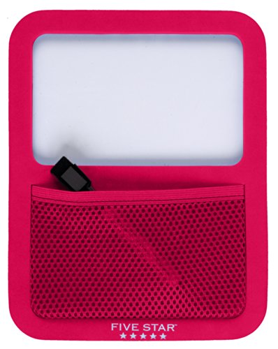 Five Star Locker Accessories, Locker Dry Erase Board with Storage Pocket, Magnetic, Red (72596)