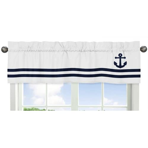 Sweet Jojo Designs Anchors Away Collection Nautical Navy And White Boys  Window Valance
