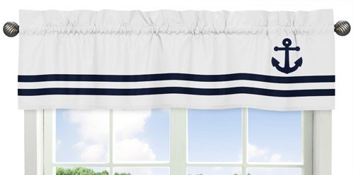 Anchors Away Collection Nautical Navy and White Boys Window -