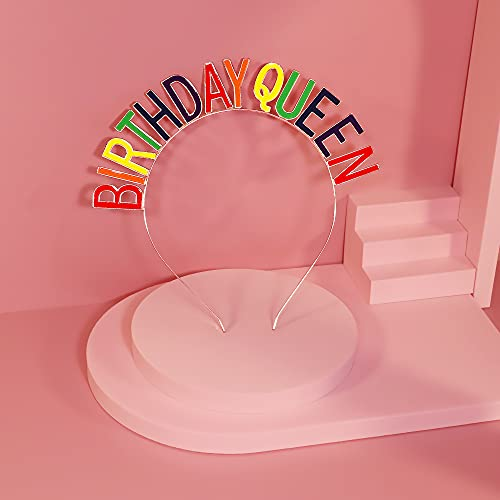 Black Birthday Queen Sash & Tiara Kit, Happy Birthday Party Gifts Decorations for Women Girls Princess