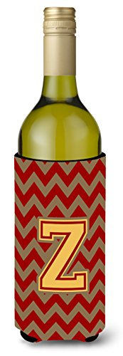 Letter Z Chevron Garnet and Gold  Wine Bottle Beverage Insulator Hugger CJ1048-ZLITERK ()