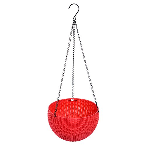 Aneil Flower Hanging Pots Plant Rattan Waven Baskets with Chains for Greenhouse Garden Indoor Outdoor Living Room Decorations (Red) by Aneil