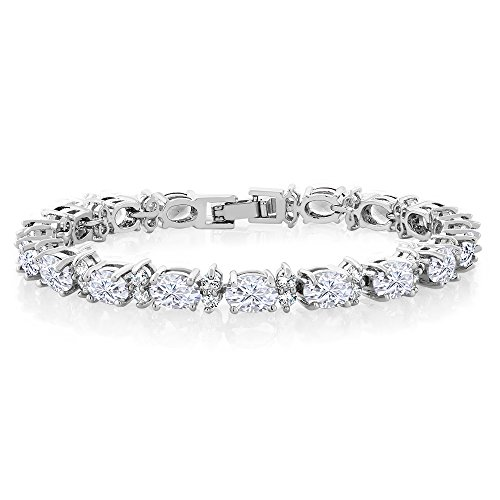 Large Oval Stone - Gem Stone King 20.00 Ct Gorgeous Oval and Round 7inches Sparkling Cubic Zirconia CZ Tennis Bracelet