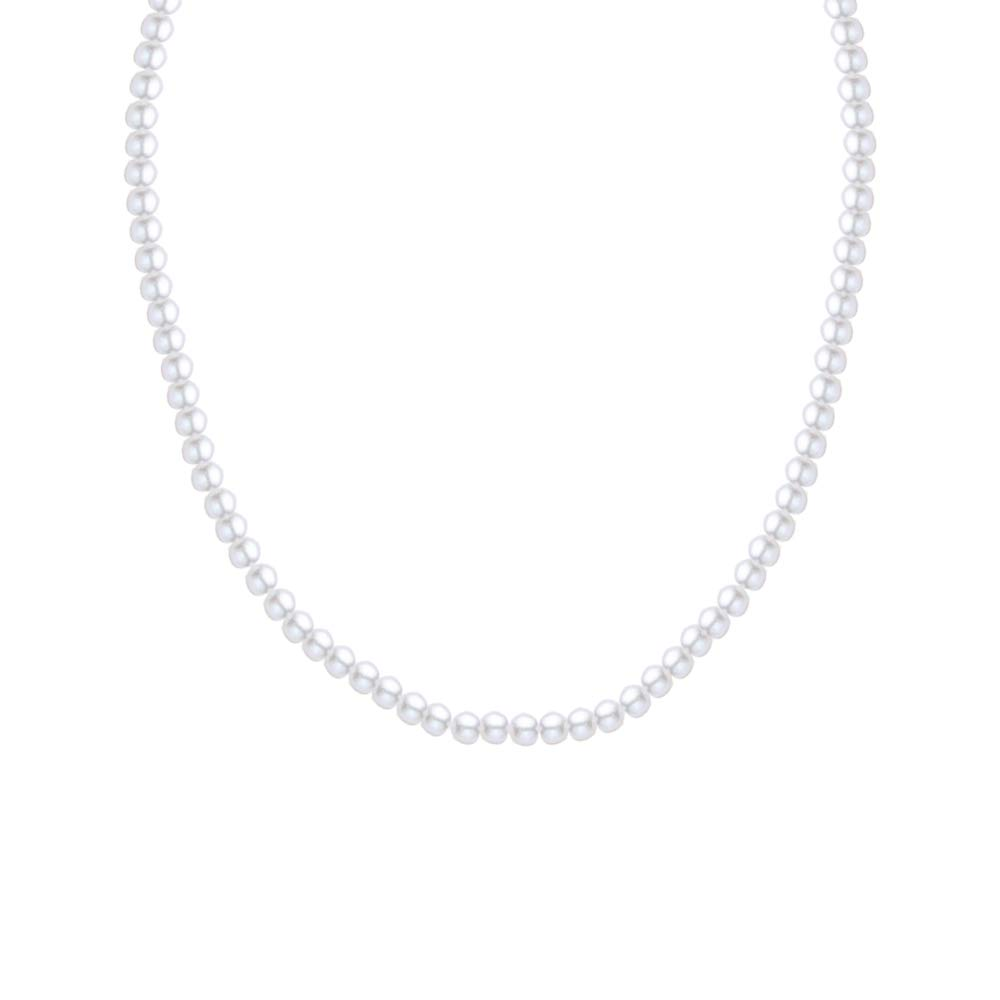 Pearl Necklace AAA Quality White 6mm Freshwater Cultured Pearl Necklace for Women in 18'' Princess Length by JORA