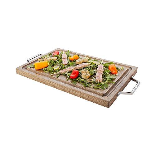 12' Acacia Wood - Acacia Wood Serving Board, Cutting Board - Platinum Ash with Chrome Handles - 21.5