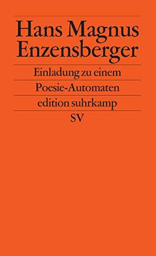 Einladung zu einem Poesie-Automaten edition suhrkamp: Amazon.de: Enzensberger, Hans Magnus: Bücher