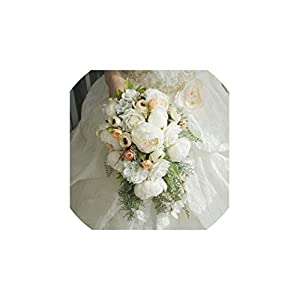 FAT BIG CAT 2019 Waterfall White Wedding Flowers Bridal Bouquets Artificial Wedding Bouquets Rose S12,White Plus White 5