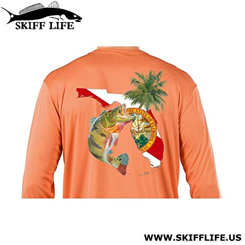 Peacock Bass Florida Fishing Shirt with FL State Flag Sleeve