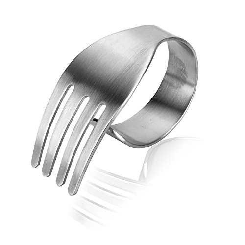 MyLifeUNIT Brushed Stainless Steel Fork Shaped Napkin Rings (Set of 8)
