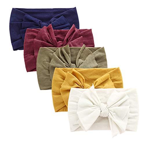 (BQUBO Baby Girl Headbands Turban Bow Nylon Headband for Baby Elastic Knotted Headbands Head Wraps (5 Pack Bow Nylon B / 3 Month - 6 Year))