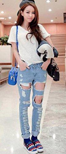 ASL Women Korean Casual Fashion Hip-Hop Jeans Ripped Pants Trousers XS Blue