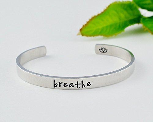 or Sterling Silver Brass Breathe- Hand Stamped Cuff Bracelet- Aluminum Copper