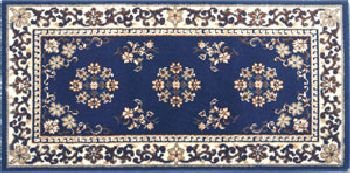 22 x 44 Blue Oriental Virgin Wool Hearth Rug