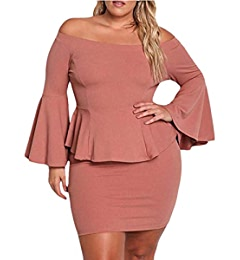 0c301f3f6232 Jeanewpole1 Women Off The Shoulder Peplum Dresses Plus Size Bell Sleeve  Sexy Party Short Dresses Blue at Amazon Women's Clothing store: