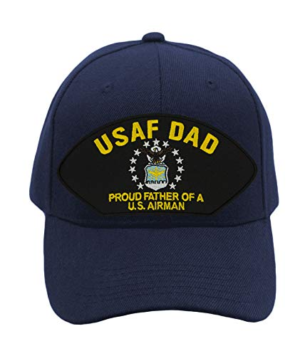 Patchtown Air Force Dad - Proud Father of a US Airman Hat/Ballcap Adjustable One Size Fits Most Multiple Colors and Styles (Navy Blue, Add American Flag)