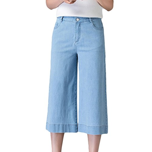 Xinwcanga Baggy Lumire en Trousers Denim Femmes lastique Bleu Pantacourt Droit Jeans rx1qXTwr