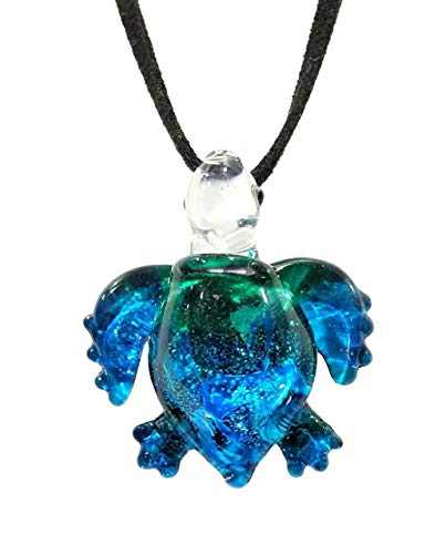 Handmade Ocean Blue Sea Turtle Art Glass Blown Sea Animal Figurine Pendant Necklace Jewelry - Model Y2016