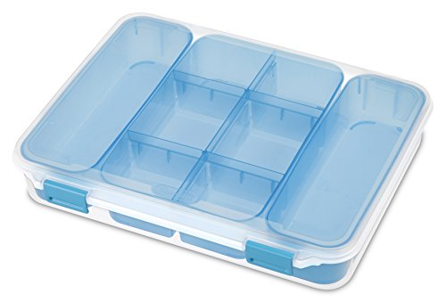 Sterilite 14028606 Divided Case, Clear Case & Blue Aquarium Latches w/ Freshwater Tint Trays, (Storage Containers Case)