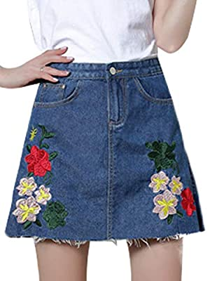 PERSUN Women's Faux Suedette Button Closure Plain A-Line Mini Skirt