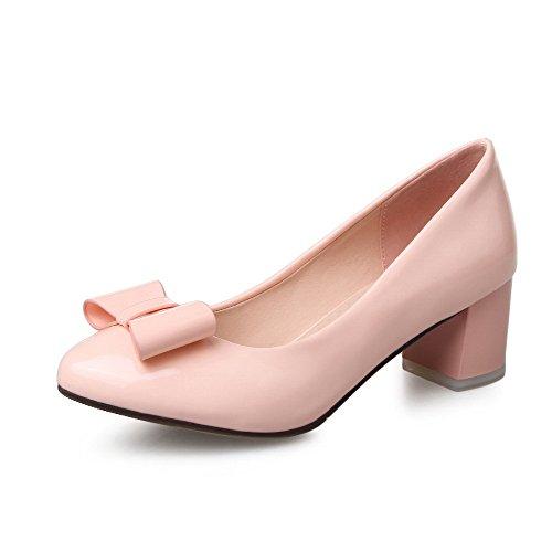 Allhqfashion Delle Donne In Vernice Solido Tacchi Gattino A Punta Chiusa Tira Su Pompe-scarpe Rosa