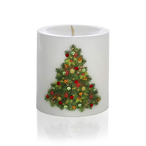 Sam & Wishbone New Year Candles Home Decoration Luxury White Unscented Handmade Pillar Candle Gift - Holidays Collection (Christmas Tree)