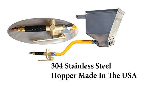 Stucco Sprayer Hopper Gun Made in the USA with heavy duty brass air valve, includes 2 plugs to use with 2,3 or 4 nozzles ()