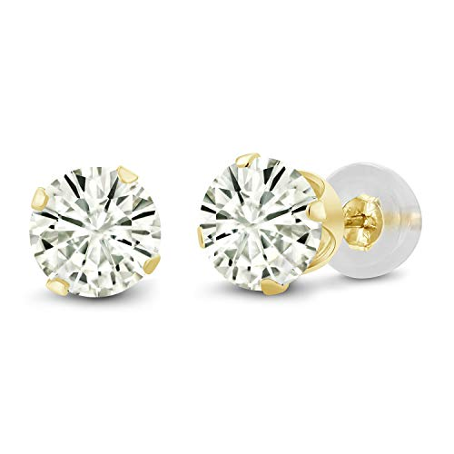 (14K Yellow Gold Stud Earrings Forever Classic Round 1.00ct (DEW) Created Moissanite by Charles & Colvard)
