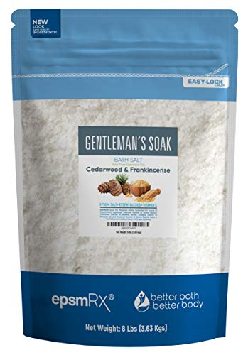 Gentlemans Bath Salt 128 Ounces Epsom Salt with Cedarwood, Frankincense, Eucalyptus and Peppermint Essential Oils Plus Vitamin C and All Natural Ingredients BPA Free Pouch with Easy Press-Lock