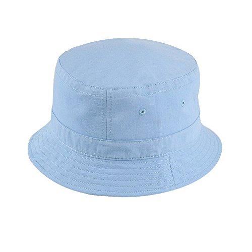 Crazy Cart Fashionable Unisex Solid Color Cotton Bucket Hat Blue