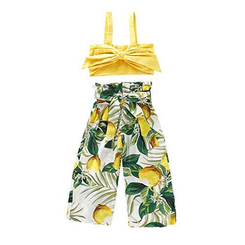 Toddler Kids Girls Ruffle Strap Tank Tops+Geometric Wide Leg Pants Outfit Summer Clothes Two Piece Set (Lemon, 1-2 Years) (2 Piece Baby Girl Outfit)