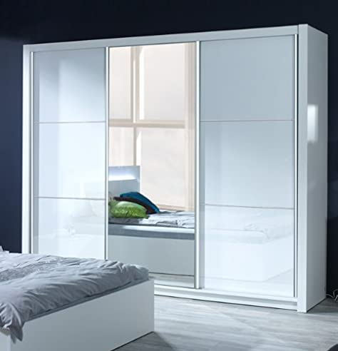 Kleiderschrank schiebetüren weiß hochglanz  Schiebetürenschrank Kleiderschrank 3-türig 250 cm mit Spiegel weiß ...