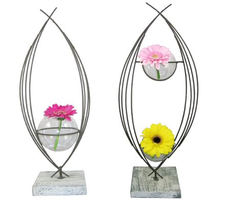 Conjunto de soporte de metal hermoso de 2 flores y 3 jarrones de cristal tipo pecera: Amazon.es: Hogar