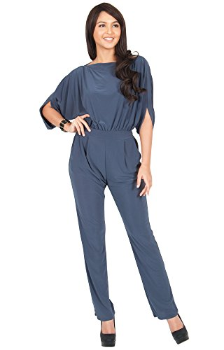 KOH KOH Womens Short Sleeve Sexy Formal Cocktail Casual Cute Long Pants One Piece Fall Pockets Dressy Jumpsuit Romper Long Leg Pant Suit Suits Outfit Playsuit, Slate Gray M 8-10