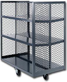 Durham Mfg - Cabinets, Mesh Stock Shelf Truck, Hex-2860-25C, Size L X W X D: 60 X 28 X 54