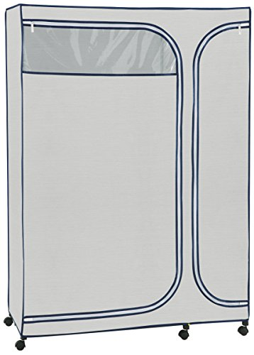 Organize It All Free Standing Wardrobe Closet Storage with Zippered Protective Cover - Light Gray from Organize It All