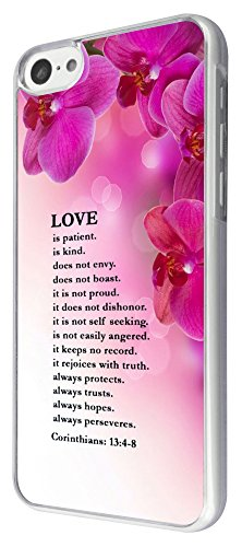 442 - Shabby Chic Floral Christian Quote Love is patient is kind always trusts Design iphone 5C Coque Fashion Trend Case Coque Protection Cover plastique et métal