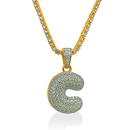 925 Sterling Silver Yellow Gold-Tone Iced Out Hip Hop Swag Bling Bubble Letter C Pendant with 16'' 1 Row Chain by iRockBling