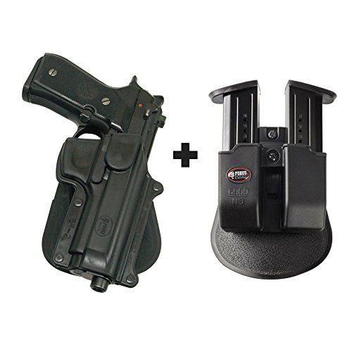 Fobus BR-2 Paddle Black Right Hand Concealed Carry Holster Beretta 92F/96 without rails, except Brigadier, Vertec & Elite + 6909 ND Double Magazine Pouch