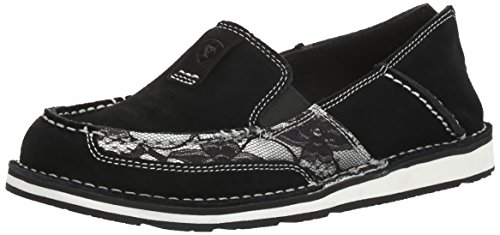 (Ariat Women's Cruiser Slip-on Shoe, Black Suede, 5.5 B US)