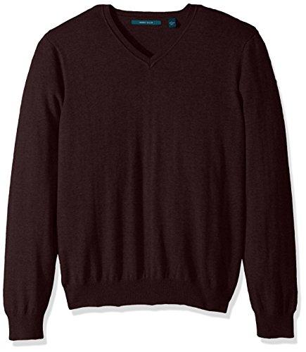 Perry Ellis Men's Classic Solid V-Neck Sweater, Port-4BFG7247, Medium by Perry Ellis