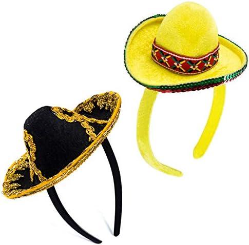 Womens Mini Sombrero Hat Mexican Multicolor Cap Halloween Costume Headband Adult