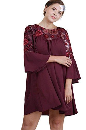 Velvet Yoke (Umgee Women's Floral Velvet Yoke Bell Sleeve Dress Plus Size (Wine, XL))