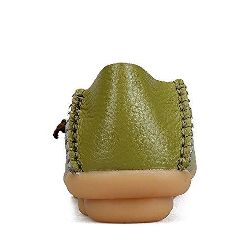 Fereshte Damesmode Lederen Instappers Casual Slip-on Zachte Zolen Platte Schoenen Voor Het Shoppen Van Grasgroen