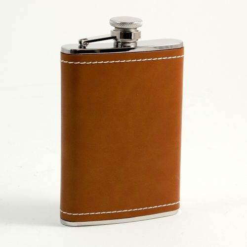 Saddle Stitch Staple (8 oz. Saddle Leather & White Stitch Flask)